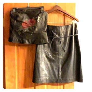 Leather halter top w/ leather A line skirt